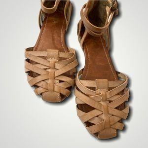 MIA Tan Woven Sandals Size 7